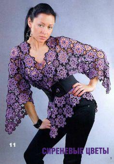 Uncinetto d'oro: Meravigliosa maglietta con fiori viola!!!