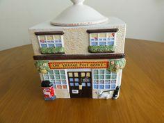 Vintage Pottery Biscuit Barrel Cookie Jar English Village Post Office Flat Roof