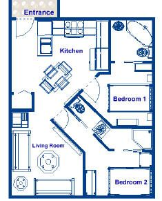 Small Apartment Kitchen Floor Plan tiny house single floor plans 2 bedrooms | apartment floor plans