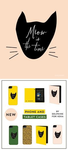Meow is the Time iPhone and iPad cases by Delphine for Keka