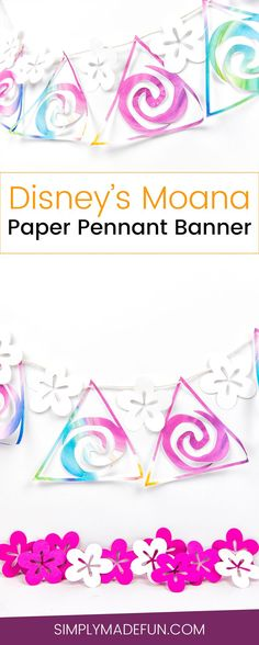 How to make cute paper party banners with your Silhouette Cameo and some fun patterned paper from your local craft store! It's so easy and is the perfect decor for any Disney Princess party!   simplymadefun.com #papercrafts #disneysmoana #silhouettecameo #cutfiles