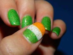 My St. Patrick's Day/Irish flag nails :) Fancy Nails, Cute Nails, Pretty Nails, Crazy Nail Designs, Nail Art Designs, Nails Design, Hair And Nails, My Nails, Irish Nails