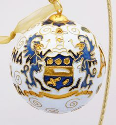 Officially licensed Alpha Xi Delta, handcrafted, 24k gold plated cloisonne ornament - www.KittyKeller.com