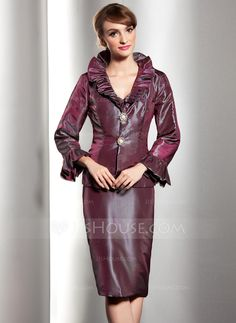 Sheath/Column V-neck Knee-Length Taffeta Mother of the Bride Dress With Cascading Ruffles (008014548) - JJsHouse