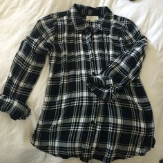 """Button front shirt Black and white """"flannel"""" made of Rayon. Button front and roll up sleeves. Olive & Oak Tops Button Down Shirts"""