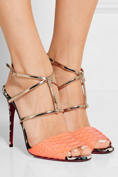 CHRISTIAN LOUBOUTIN Lovabrida 100 metallic leather-trimmed python sandals