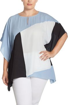 Vince Camuto Keyhole Neck Colorblock Poncho Top (Plus Size) available at #Nordstrom