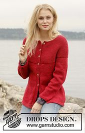 Ravelry: 150-6 Scarlet - Jacket with round yoke in garter st in Nepal pattern by DROPS design