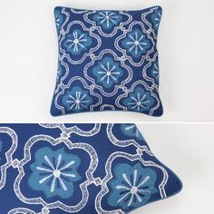 Capa de Almofada Azulejo Bordada Azul 40 x 40 cm   A Loja do Gato Preto   #alojadogatopreto   #shoponline   referência 26863894