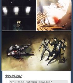 Death note- I was pretty shocked at this scene but I love how it was Matsuda who finished kira b/c of everyone who underestimated him it made the perfect scene in my opinion