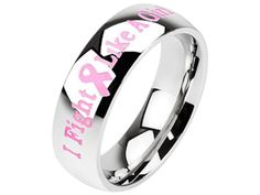 Celebrate the strength of women and wear your support of the fight against breast cancer proudly, with our I Fight Like A Girl pink ribbon ring. Created in strong, highly polished stainless steel, thi Breast Cancer Survivor, Breast Cancer Awareness, Steel Jewelry, Body Jewelry, Spoon Jewelry, Jewelry Box, Jewelry Rings, Jewellery, Rings For Girls