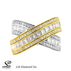 TWO TONE DIAMOND RING 2.81CT ROUND AND PRINCESS CUT DIAMONDS IN 18K GOLD