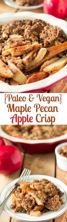 Paleo & Vegan Maple Pecan Apple Crisp that's incredibly easy to make, super healthy and a festive fall dessert that everyone will love!  Sweet maple syrup, nutty pecans, cinnamon and sweet fall spices make this paleo and vegan apple crisp warm, homey, and fall comfort food heaven!  Grain free, gluten free, dairy free, refined sugar free.