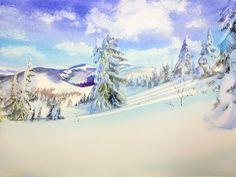 Зимний пейзаж - рисуем акварелью. Подробный разбор. - YouTube