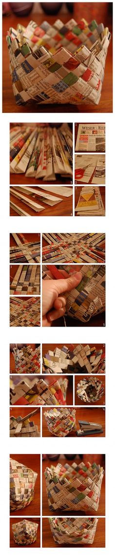 How to make storage baskets with recycled newspapers step by step DIY tutorial instructions How to make storage baskets with recycled newspapers step by step DIY tutorial instructions by Mary Smith fSesz Weaving Projects, Diy Wood Projects, Diy Storage, Storage Baskets, Diy Arts And Crafts, Diy Crafts, Diy For Kids, Crafts For Kids, Diy Cadeau