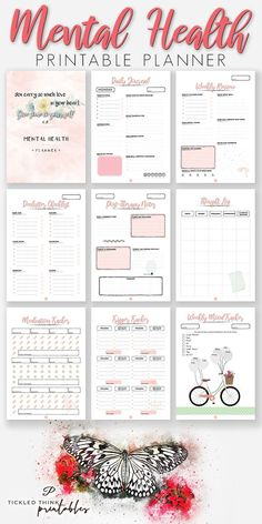 Mental Health Planner + Holiday Planner - Tickled Think Printables Mental Health Journal, Mental Health Resources, Improve Mental Health, Health Planner, Life Planner, Happy Planner, Work Planner, Planner Ideas, Printable Planner