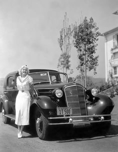 U.S. Jean Harlow and her Cadillac V16, c.1934
