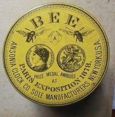 Antique 1878 Paris Exposition Bee Ansonia Clock Co. Watch Tin