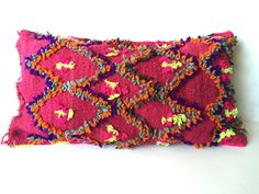 Vintage Moroccan pillow, Berber kilim pillow, Fuchsia pillow, Embroidered pillow, Kilim cushion, Morrocan decor - Vintage Talsint Pillow T3  All