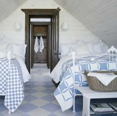 antique iron beds painted white, spiffy attic room