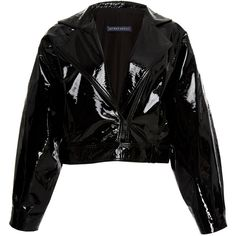Zeynep Arçay Mini Patent Leather Jacket ($2,200) ❤ liked on Polyvore featuring outerwear, jackets, coats, coats & jackets, black, patent jacket, patent leather jacket, cropped jackets and mini jacket