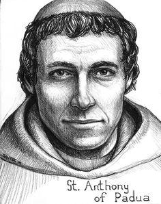 Catholic Prayers, Catholic Art, Catholic Saints, Patron Saints, Religious Art, St Anthony Prayer, Saint Anthony Of Padua, Jesus Drawings, Pencil Drawings
