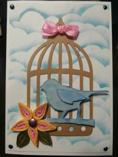 birdcage card with quilled flower