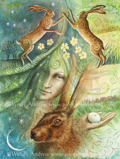 Eostre and the Hare's Egg/Gentle Lady, unfurling spring.  Tender green...new life bring.  Hares spiralling, fertility dance  Eostre casts Her magic glance!  The gift of life softly given  Within the hare's egg...sacred, hidden.