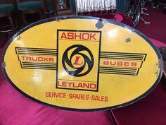 """Double Side ASHOK LEYLAND of INDIA Truck & Bus Service Porcelain Sign 24"""" x 40""""  #AshokLeyland"""