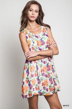 Sleeveless Floral Pleat Dress #summer2016 #boutique