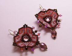 Chandelier Earrings – Art deco earrings- chocolate and strawberry – a unique product by DarkEyedJewels on DaWanda