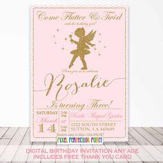 fairy princess invitation fairy birthday invitation tinkerbell invitation fairy ballerina pink gold invitation free thank youcard