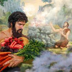 Abel ofreciendo lo mejor de su rebaño a Jehová; Caín ofreciendo productos de su cosecha