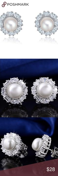 Pearl Earrings Platinum plated, AAA Austrian Zircon, not real pearl.   Nickel free High quality jewelry Jewelry Earrings