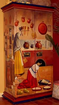 """""""la cocina"""" hand painted cabinet Inspired by the work """"Interior del cocina poblana"""", Theophile Pingret, circa Mexican Kitchen Decor, White Kitchen Decor, Victoria's Kitchen, Quirky Kitchen, Mexican Kitchens, Kitchen Ideas, Hand Painted Furniture, Funky Furniture, Furniture Makeover"""
