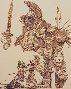 Art And Illustration, Illustrations And Posters, Arte Com Grey's Anatomy, Anatomy Art, Cool Paintings, Cool Artwork, Gladiator Tattoo, Fantasy Art Warrior, Marshal Arts
