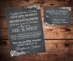 Vintage Chalkboard and Lace Wedding Invitation and RSVP Set