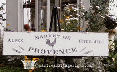 Market de Provence Vintage French sign hanpainted chippy antique finish
