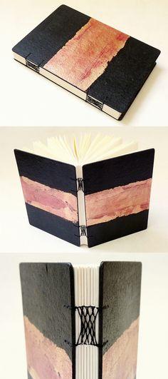 sketchbook capa dura com folha de ouro, encadernação artesanal macramê