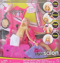 BARBIE Hair STYLE SALON Playset w BARBIE DOLL SINK w 'Working' SPRAYER COMMODE w 'Mirror' & More! (2008)...