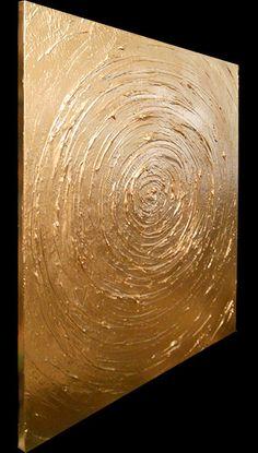Kunst abstrakte Malerei, original Gemälde Kunst metallic gold schwere Textur Dick malen 22 x 28 Mattsart