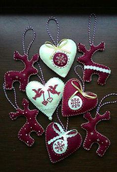 Купить Набор 8шт. Новогодние украшения из фетра. - бордовый, новый год 2016, елочные игрушки из фетра