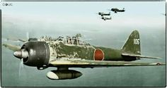 """Japanese Mitsubishi A6M-3 type22 Zero, """"zeke"""", JNAF 251 Kokutai (tail code UI 105) flown by japanese ace Hiroyoshi Nishizawa known as the """"red devil of rabaul"""" by the alies.Seen here flying over the Solomon islands in 1943 by Doug"""