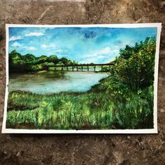 """Items similar to Watercolor Painting - """"Black Bridge"""" on Etsy Watercolour Paintings, Watercolor Landscape, Different Forms Of Art, Art Forms, Bridge, Etsy Shop, Drawings, Green, Blue"""