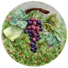 """FRENCH LONGCHAMP MAJOLICA WALL-PLAQUE """"GRAPES AND FOLIAGE,"""" C. 1890"""