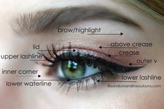 If you're interested in applying eyeshadow the right way, here's a handy diagram I created to show the proper placement areas and terms. #makeuptips #eyeshadow