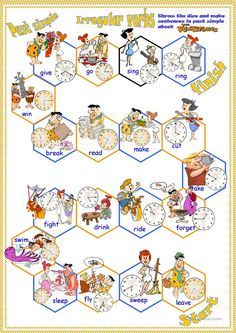 It's a boardgame with the Flintstones to practice the past of some of the most common irregular verbs in everyday english and the time. Verb Games, Grammar Games, Language Lessons, Speech And Language, English Verbs, English Grammar, Everyday English, English Exercises, Action Verbs