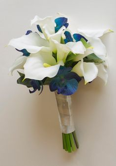 Real Touch Calla Lily and Orchid Bouquet Turquoise by Lilywinkel, $94.36