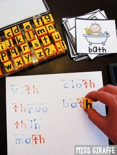 Use alphabet stamps to stamp digraphs words and more fun word work ideas