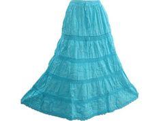 "Bohemian Long Skirt Turquoise Cotton Tiered Gypsy Maxi Skirts for Womens, Length 38"" Mogul Interior,http://www.amazon.com/dp/B00BWHDMJG/ref=cm_sw_r_pi_dp_7Vrsrb10RY1K93NS"